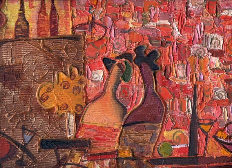 Textura da pintura a óleo autor que pinta Roman Nogin conversa do ` s das mulheres do ` da série ` foto de stock royalty free