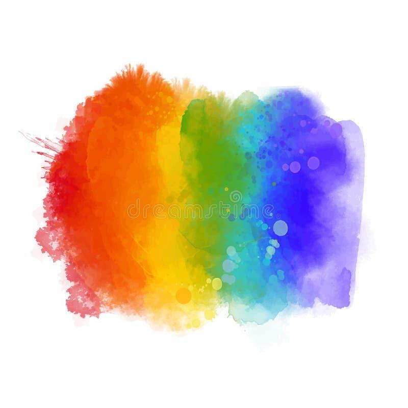 Textura da pintura do arco-íris, símbolo do orgulho alegre Cursos pintados à mão isolados no fundo branco Espectro de cores do ve ilustração royalty free
