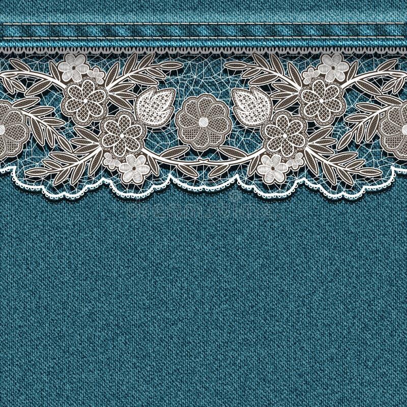 Textura da sarja de Nimes com a fita branca costurada do laço ilustração do vetor