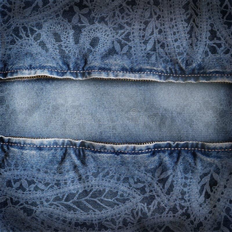 Textura da sarja de Nimes do fundo com teste padrão do laço ilustração do vetor