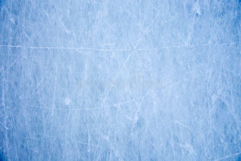 Textura da superfície azul do gelo com riscos do patim imagem de stock royalty free