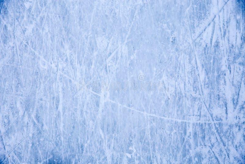 Textura da superfície azul do gelo com riscos do patim foto de stock royalty free