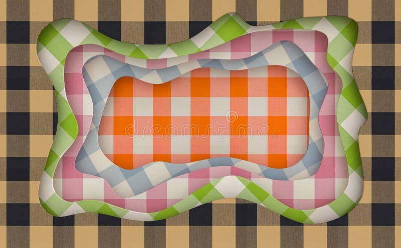 A textura da tela cortou o fundo abstrato com formas cortadas de fluxo rendição 3d ilustração stock