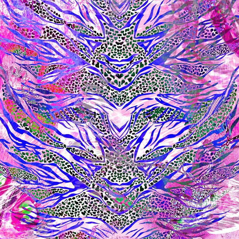 A textura da tela da cópia listrou a zebra e o leopardo para o fundo ilustração do vetor