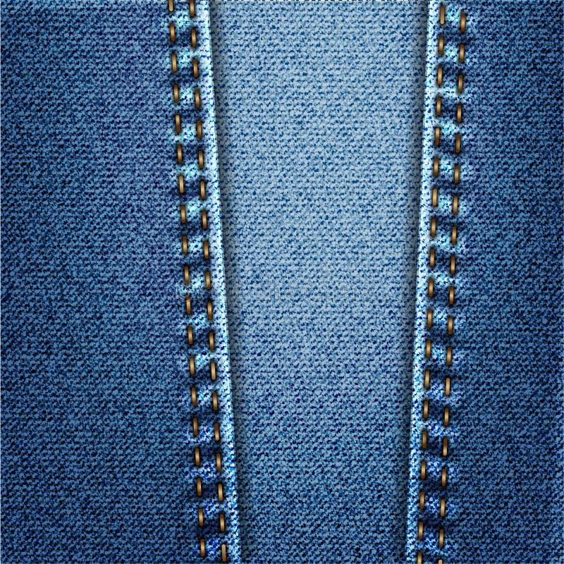 Textura da tela da sarja de Nimes de calças de ganga com ponto ilustração do vetor