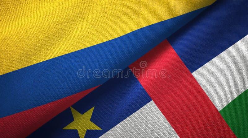 Textura da tela de matéria têxtil das bandeiras de Colômbia e de República Centro-Africana dois ilustração stock