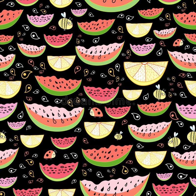Textura das partes de melancia e de limão ilustração royalty free