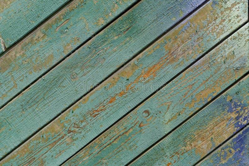 Textura das placas de madeira do vintage velho pintadas em ciano imagens de stock royalty free