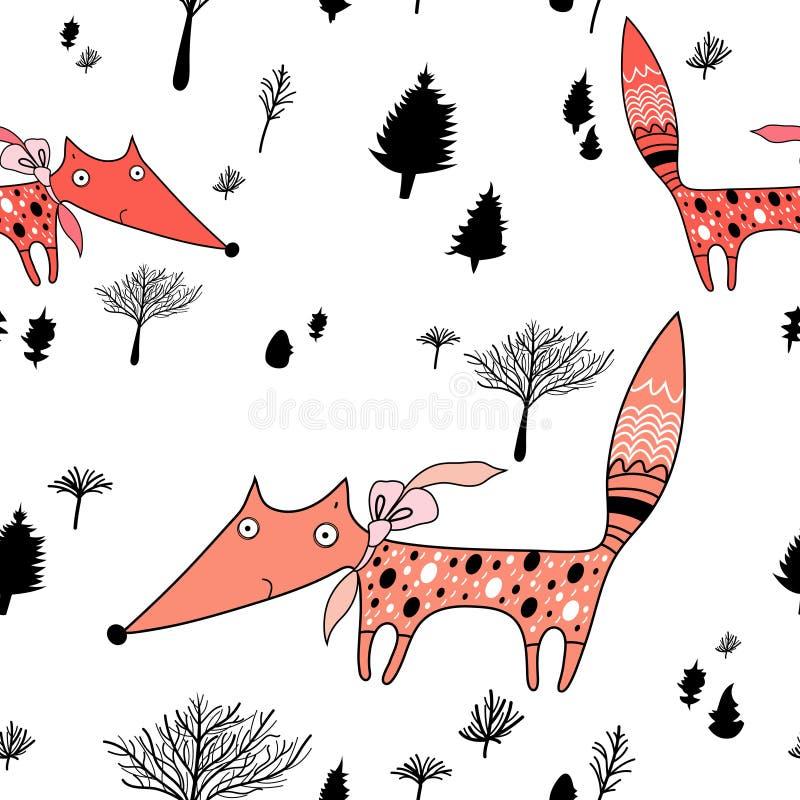 Textura das raposas na floresta ilustração royalty free