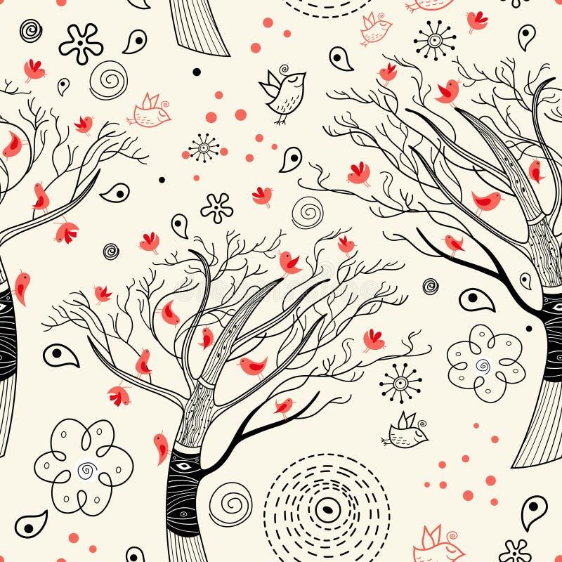 Textura de árvores pretas com pássaros ilustração stock
