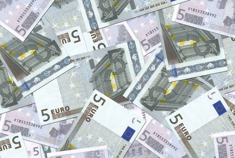 Textura de 5 euro- notas foto de stock royalty free