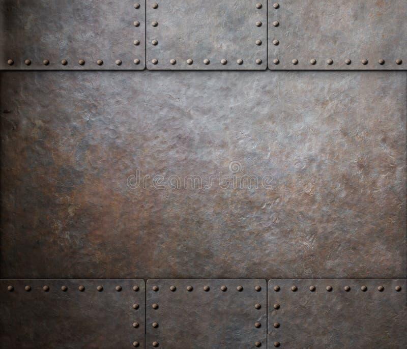 Textura de aço do metal da oxidação com os rebites como o punk do vapor fotos de stock royalty free