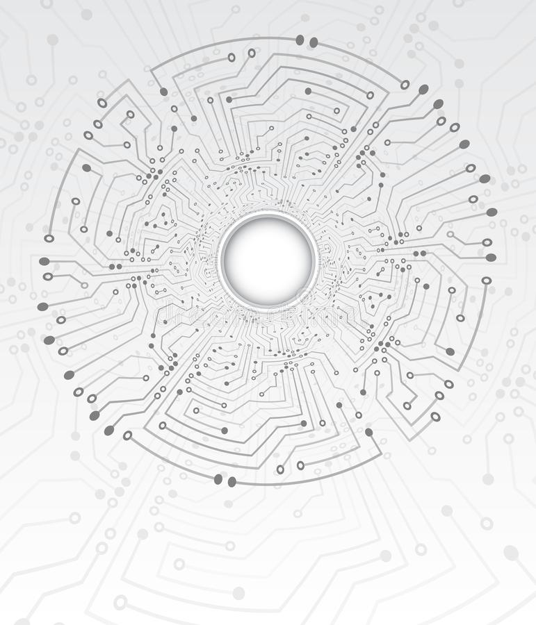 Textura de alta tecnología del fondo del túnel de la tecnología Ejemplo del vector de la placa de circuito del c?rculo libre illustration