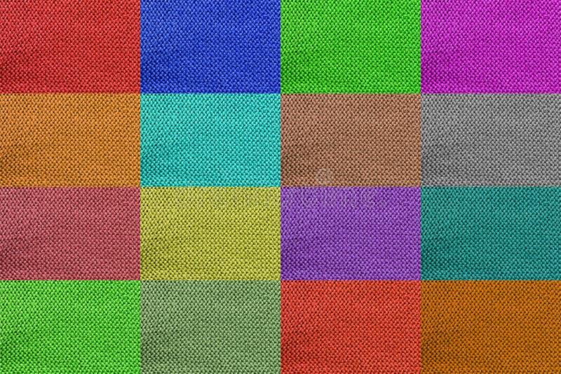 textura de confecção de malhas multicolorido de lãs para o teste padrão e o fundo fotografia de stock
