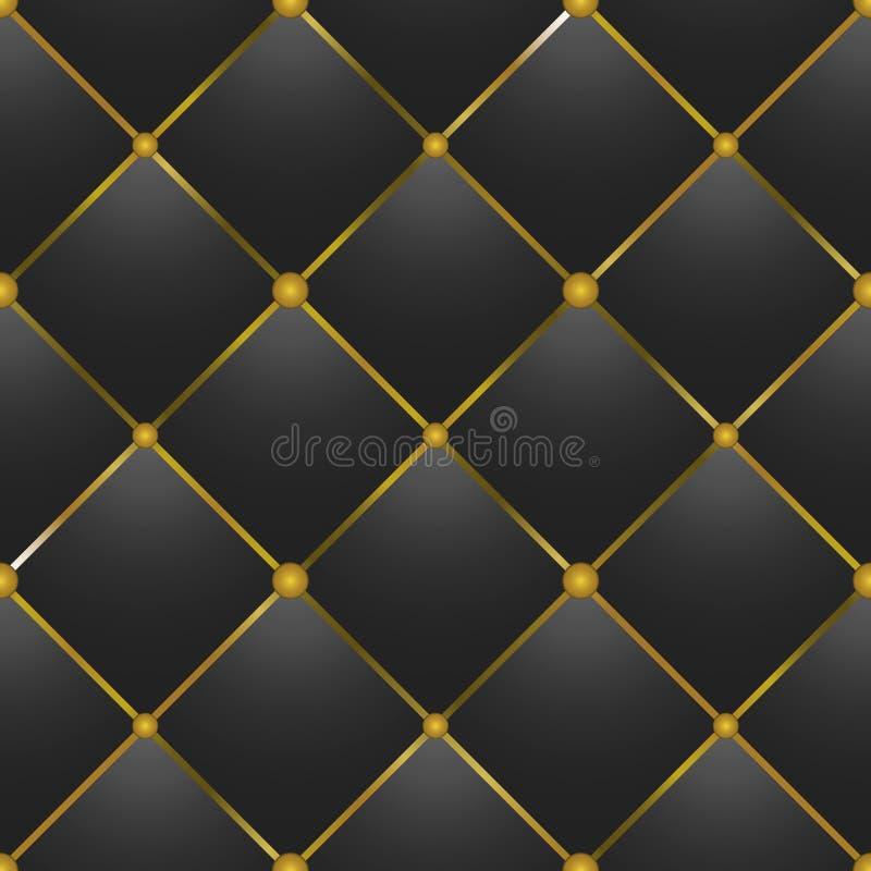 textura de couro preta Botão-adornada ilustração do vetor