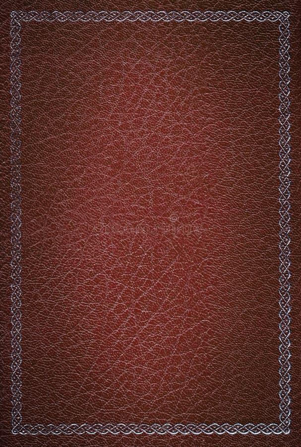 Textura de couro vermelha velha com frame de prata fotografia de stock royalty free