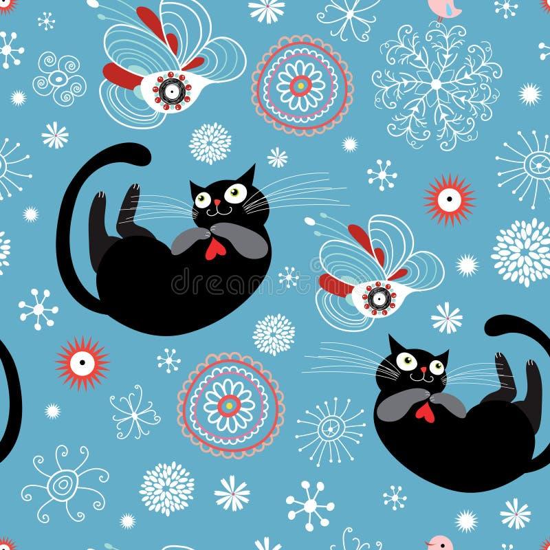 Textura de gatos divertidos stock de ilustración