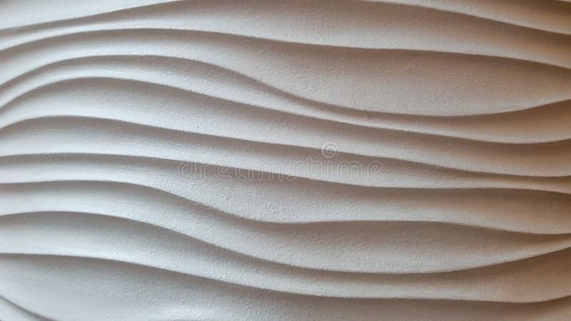 Textura de gesso Fundo ondulado Condecoração interior de paredes ou painéis fundo branco das ondas abstratas Padrão abstrato, foto de stock
