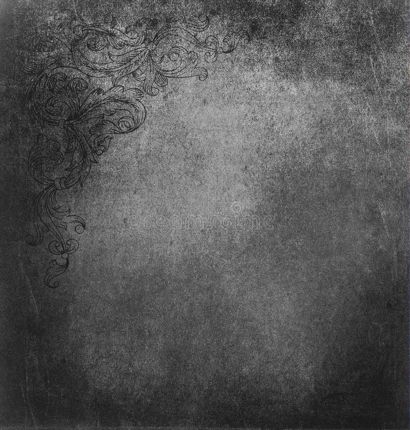 Textura de Grunge com elementos do ornamento floral. ilustração royalty free