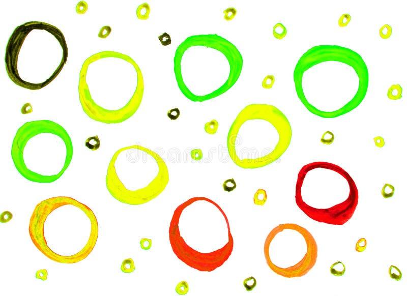 Textura de la acuarela con los c?rculos a mano de los puntos redondos, los anillos rojos y amarillos verdes aislados en el fondo  imágenes de archivo libres de regalías