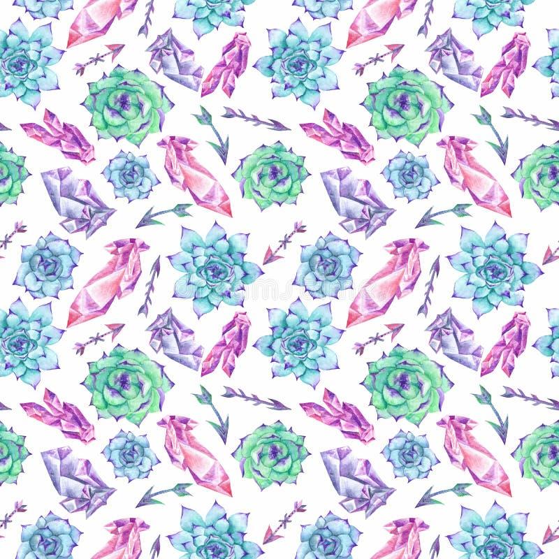 Textura de la acuarela de Boho con los cristales y los Succulents libre illustration