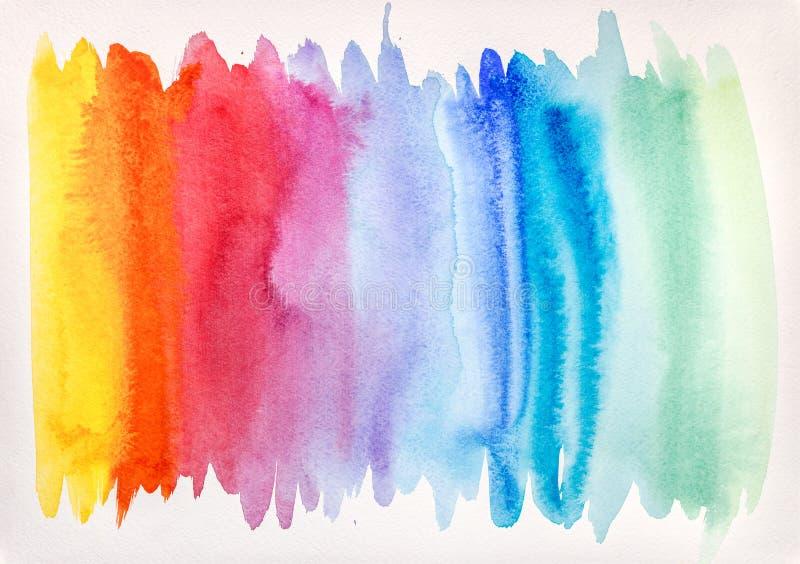 Textura de la acuarela en colores del arco iris en el papel áspero blanco abstraiga el fondo foto de archivo libre de regalías