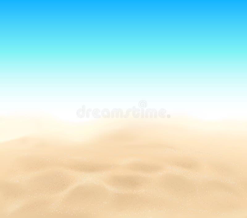 Textura de la arena de la playa del vector y fondo del cielo azul stock de ilustración