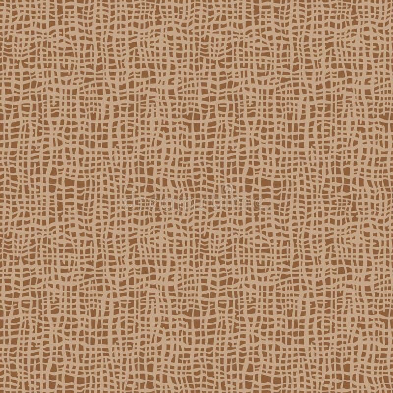 Textura de la arpillera Tela de Brown Modelo inconsútil del fondo de la lona Contexto de lino del saco del paño stock de ilustración