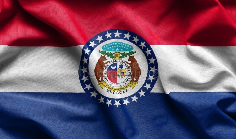 Textura de la bandera de Missouri - banderas de la tela de los E.E.U.U. fotos de archivo