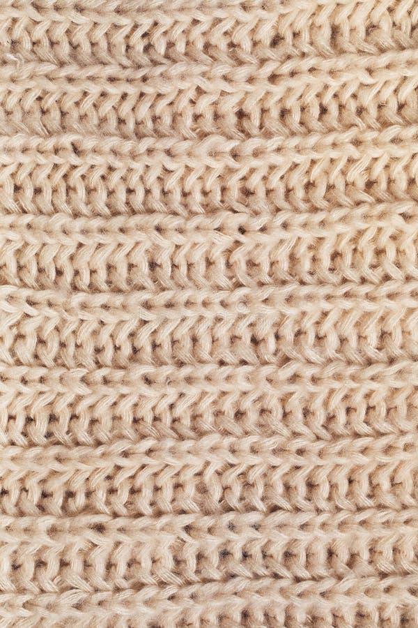 Textura De La Bufanda Poner Crema Hecha Punto De Lana Imagen de ...
