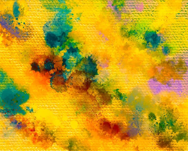 Textura de la lona Mancha de las pinturas acrílicas Fondo pintado a mano abstracto creativo Movimientos de pintura de acrílico en stock de ilustración