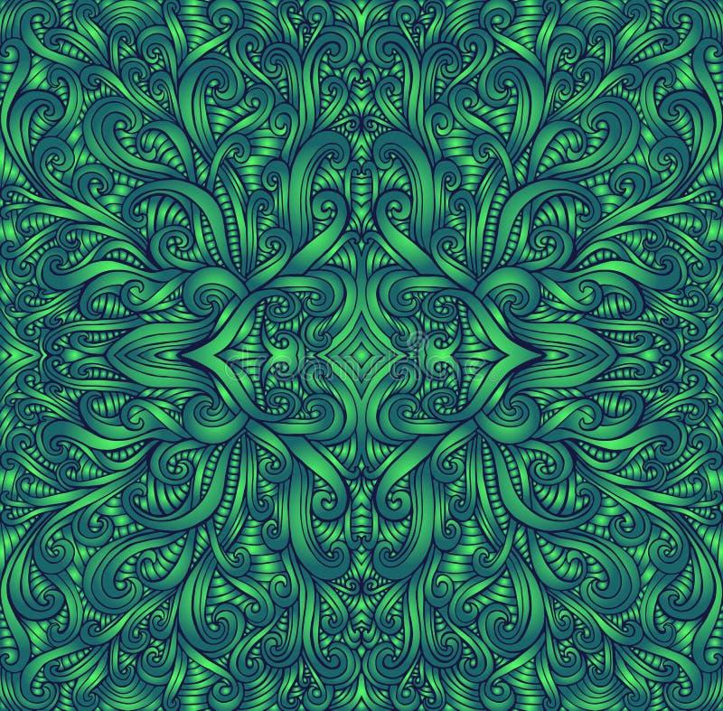 Textura de la mandala del fractal de Shamanic Estilo de Ethno Colores verdes de Ggradient Estampado de plores tribal decorativo d stock de ilustración