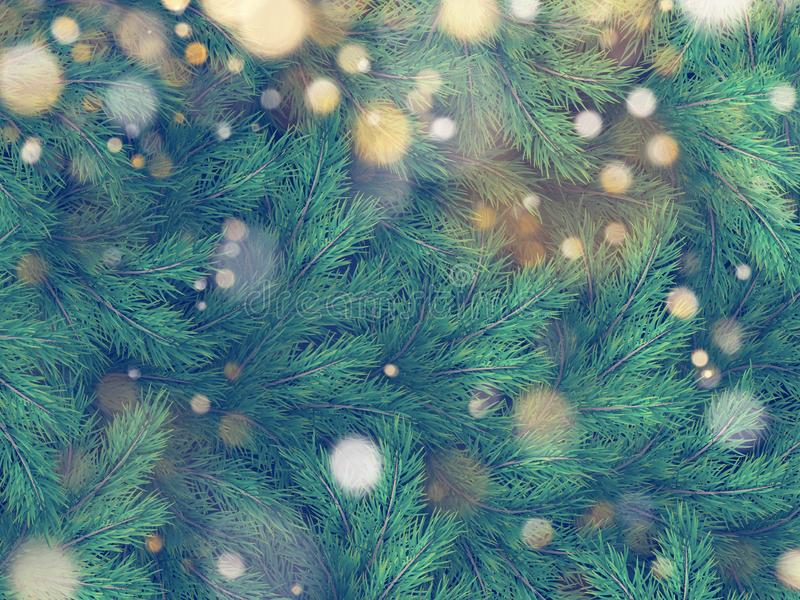 Textura de la pared adornada con las ramas del abeto del pino del árbol de navidad EPS 10 ilustración del vector
