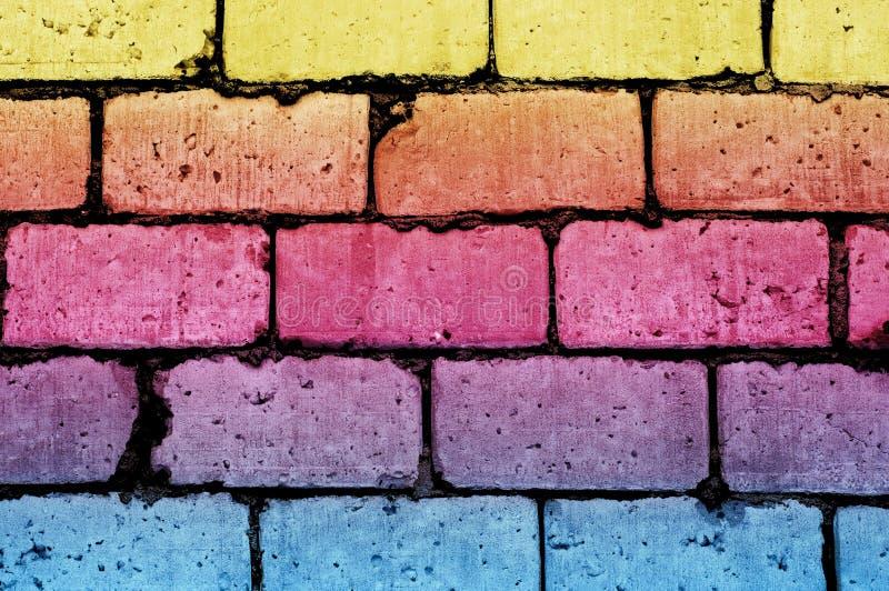 Textura de la pared de ladrillo del Grunge con los bloques adicionales del color fotografía de archivo libre de regalías