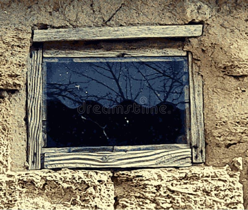Textura de la piedra caliza vieja del coquina con la ventana Ventana rústica de un granero viejo, adorno rural Vector ilustración del vector