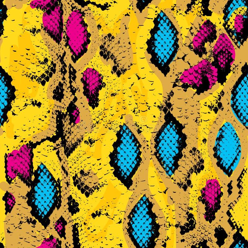 Textura de la piel de serpiente Azul inconsútil del rosa del modelo ilustración del vector