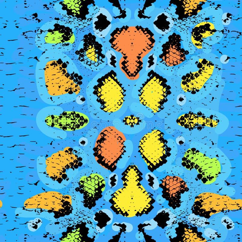 Textura de la piel de serpiente Naranja azul del modelo inconsútil stock de ilustración