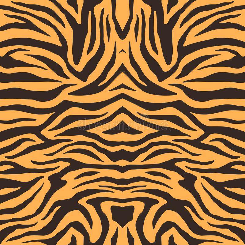 Textura de la piel del tigre de Bengala, modelo anaranjado de las rayas Impresión de la piel animal Fondo del safari Vector stock de ilustración
