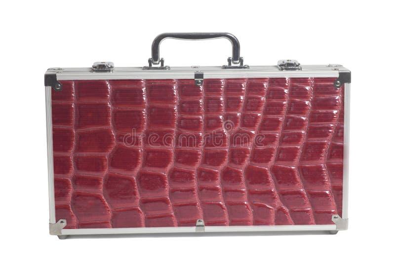 Textura de la piel de la serpiente de la maleta del viaje de negocios imagen de archivo
