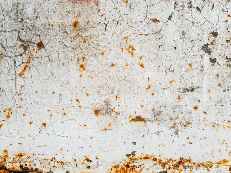 Textura de la pintura blanca con las grietas y del moho en la superficie de metal, fondo foto de archivo