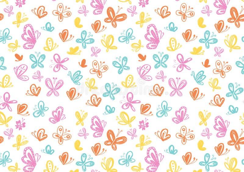 Textura de la primavera con la religión de las mariposas stock de ilustración