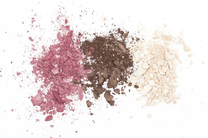 Textura de la sombra de ojos en el fondo blanco imagenes de archivo