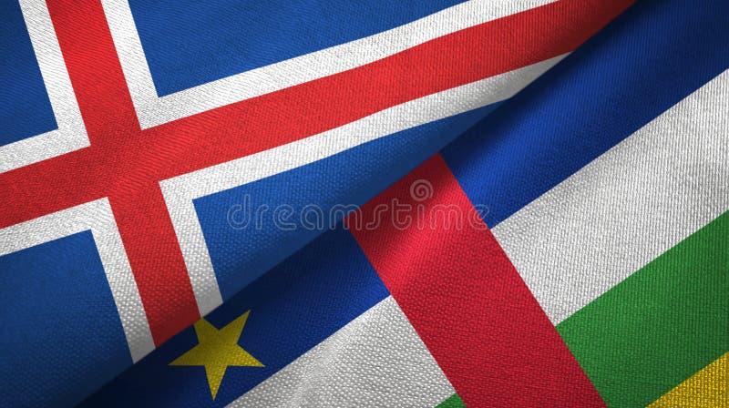 Textura de la tela de materia textil de las banderas de Islandia y de la República Centroafricana dos libre illustration