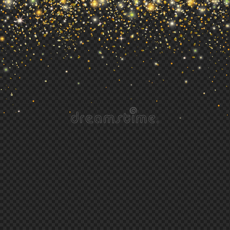 Textura de las partículas del brillo de la nieve del oro del vector en un fondo negro Nevadas con confeti, stock de ilustración