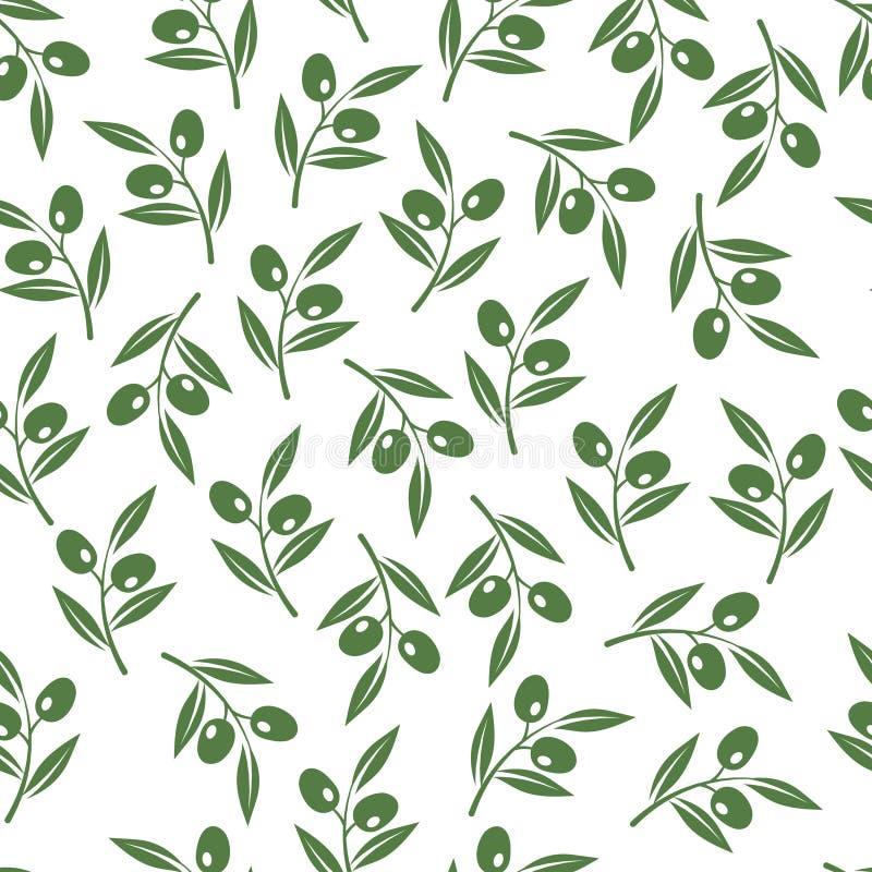 Textura de las ramas de olivo Fondo inconsútil de las aceitunas del vector para el paquete del aceite stock de ilustración