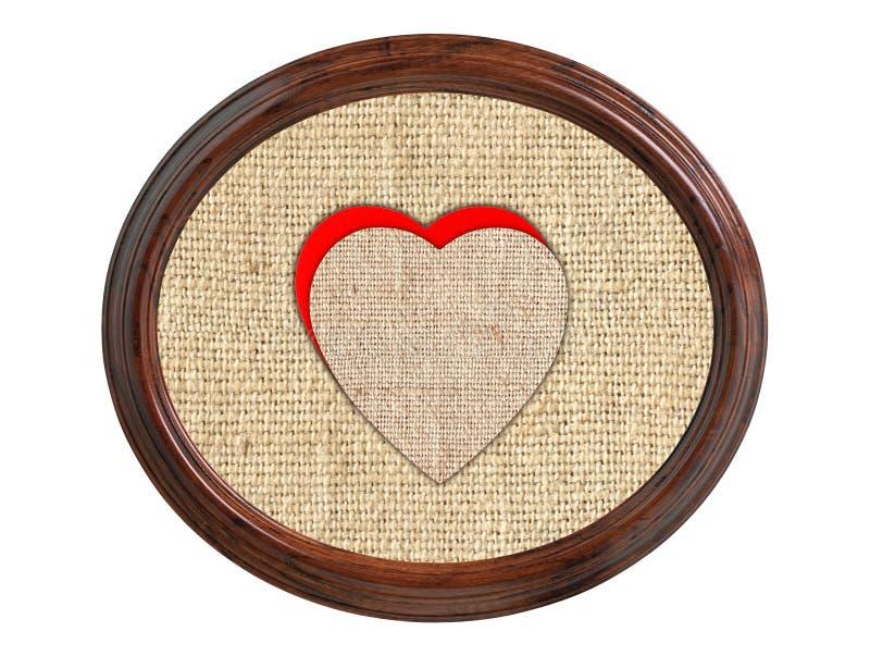 Textura de lino de la arpillera con los corazones en el marco de madera aislado en whi fotos de archivo