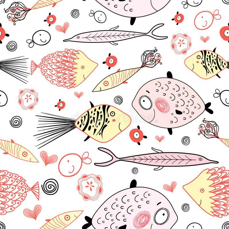 Textura de los amantes de los pescados ilustración del vector