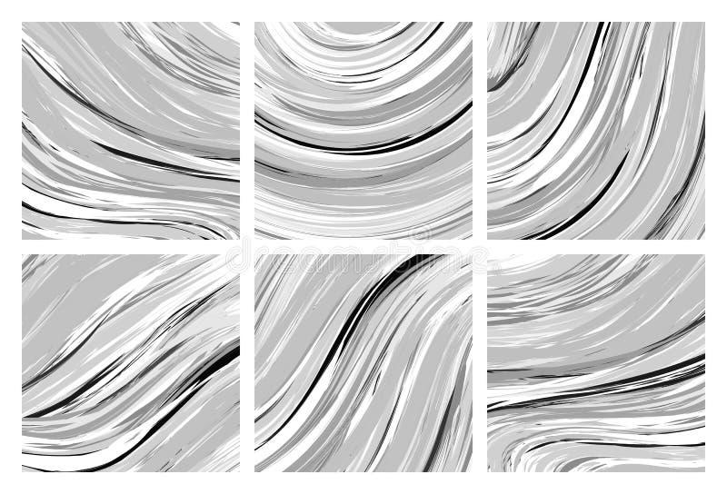 Textura de mármol abstracta Fondo blanco y negro Técnica hecha a mano libre illustration