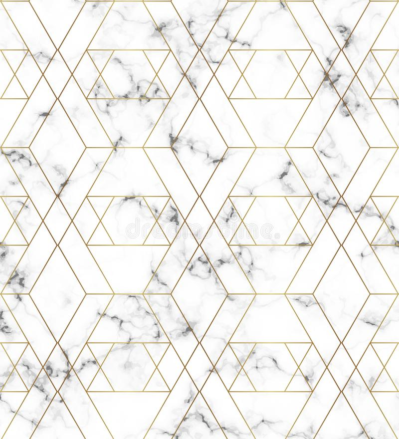 Textura de mármol blanca con la línea modelo del oro Fondo para los diseños, bandera, tarjeta, aviador, invitación, partido, cump stock de ilustración