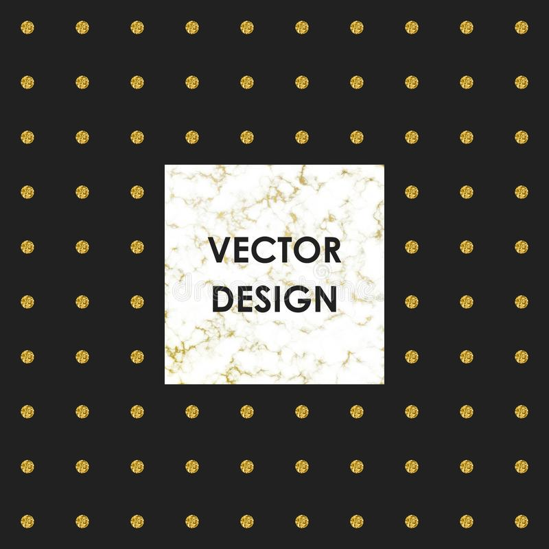 Textura de mármol blanca del diseño de la cubierta y puntos del brillo del oro en el fondo negro Plantillas para sus diseños, ban ilustración del vector